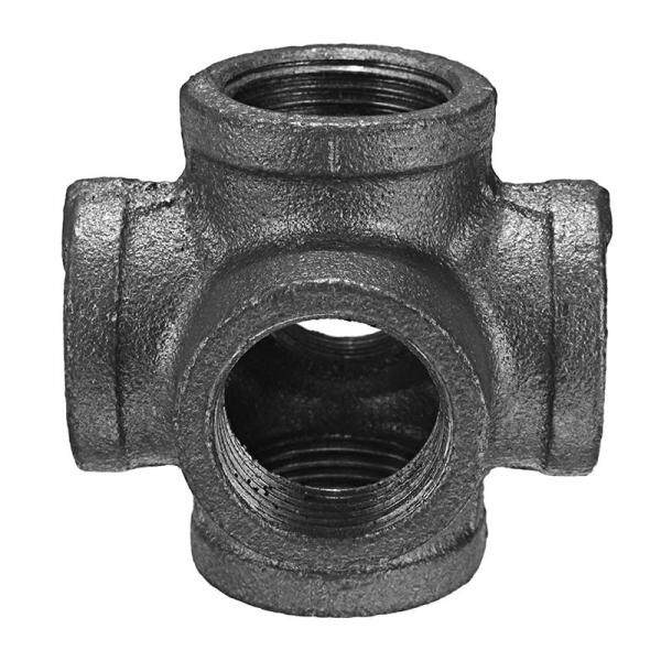 Black Malleable Iron 6 Way Pipe Connector Iron Pipe Fitting 1 Inch