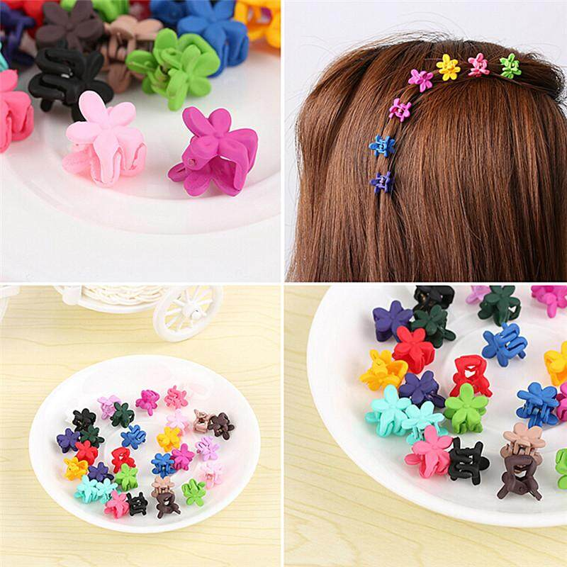0c5d861cb7db 30pcs Mix Colored Girl Kids Baby Mini Flower Hair Claw Jaw Clip Hair  Accessories Multicolor