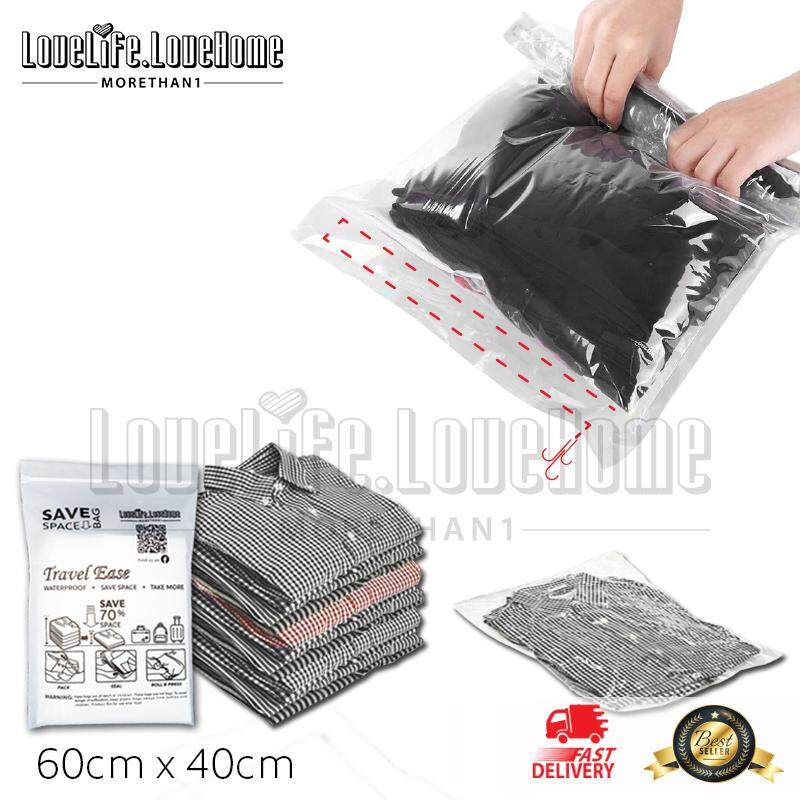 Ready Stock Malaysia 10pcs Travel Hand Roll Vacuum Compression Storage Bags Travel Storage Bags Save Space