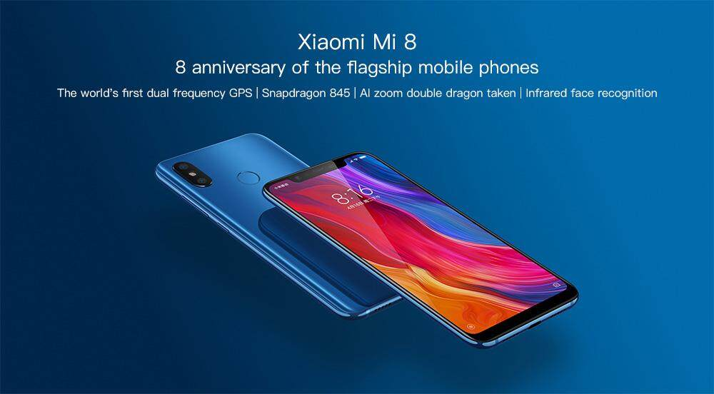 Xiaomi Mi 8 4G Phablet 6.21 inch MIUI 9 Snapdragon 845 Octa Core 2.8GHz 6GB RAM 128GB ROM Fingerprint Recognition 3400mAh Built-in