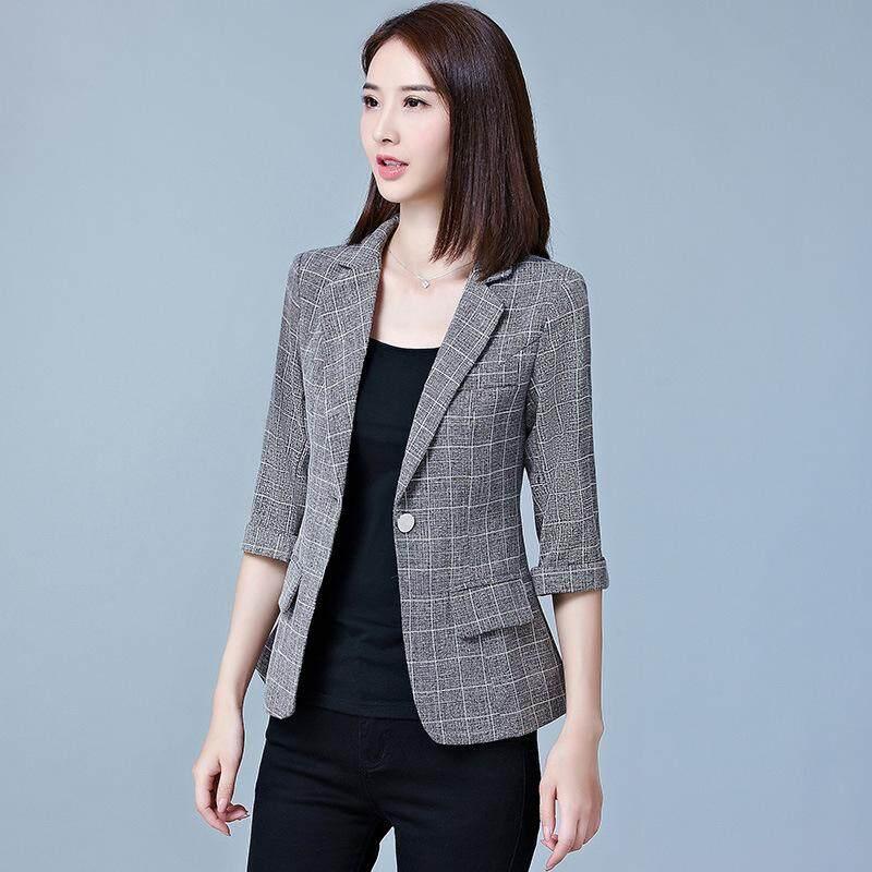 Autumn Spring Women 3 4 Sleeve Slim Fit Short Blazers Female Business  Working Coats Jackets f82d8b2d027c