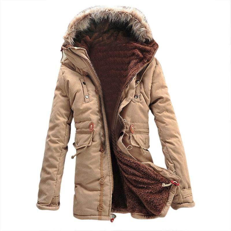 Mens New Winter Warm Fleece Parka Dreadnought Trench Jacket Duffle Coat Mfb13 Khaki M Sun