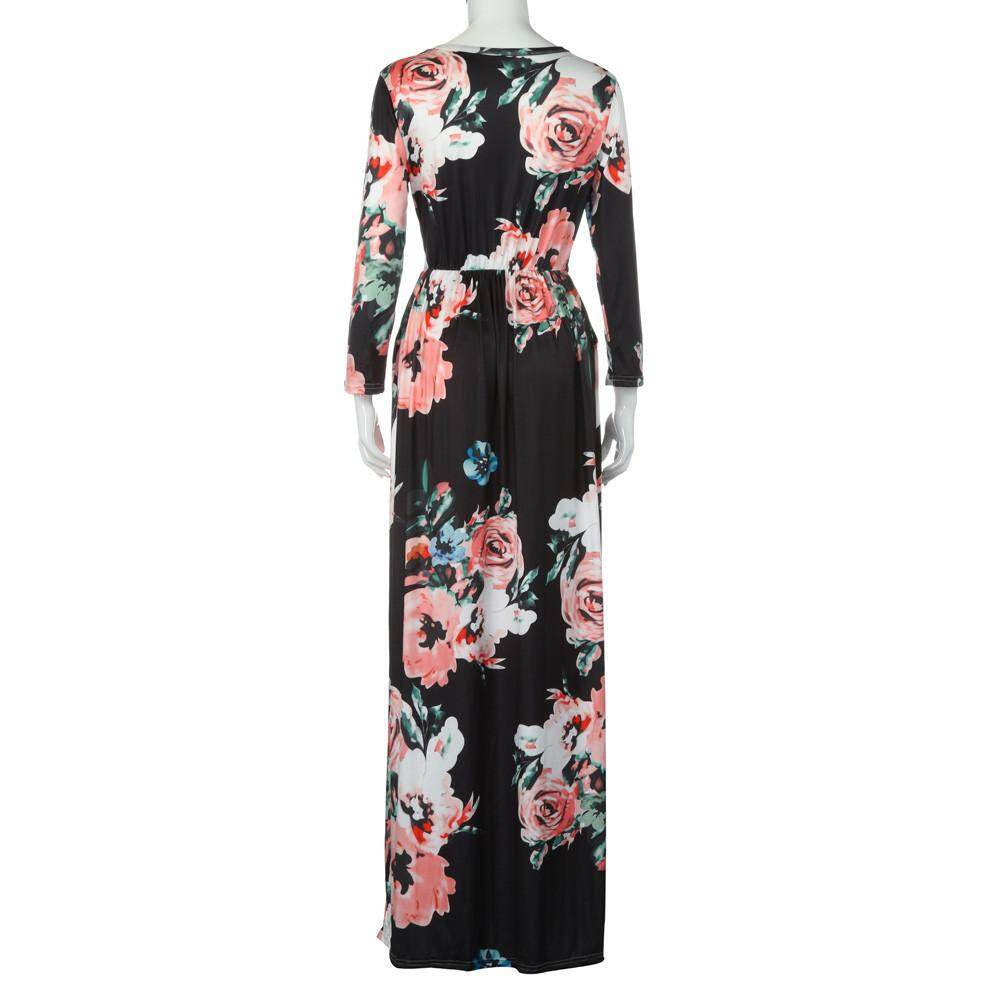 5ae2ac651f0 MONIMENT Women Floral Print Long Sleeve Boho Dress Ladies Evening Party Long  Maxi Dress