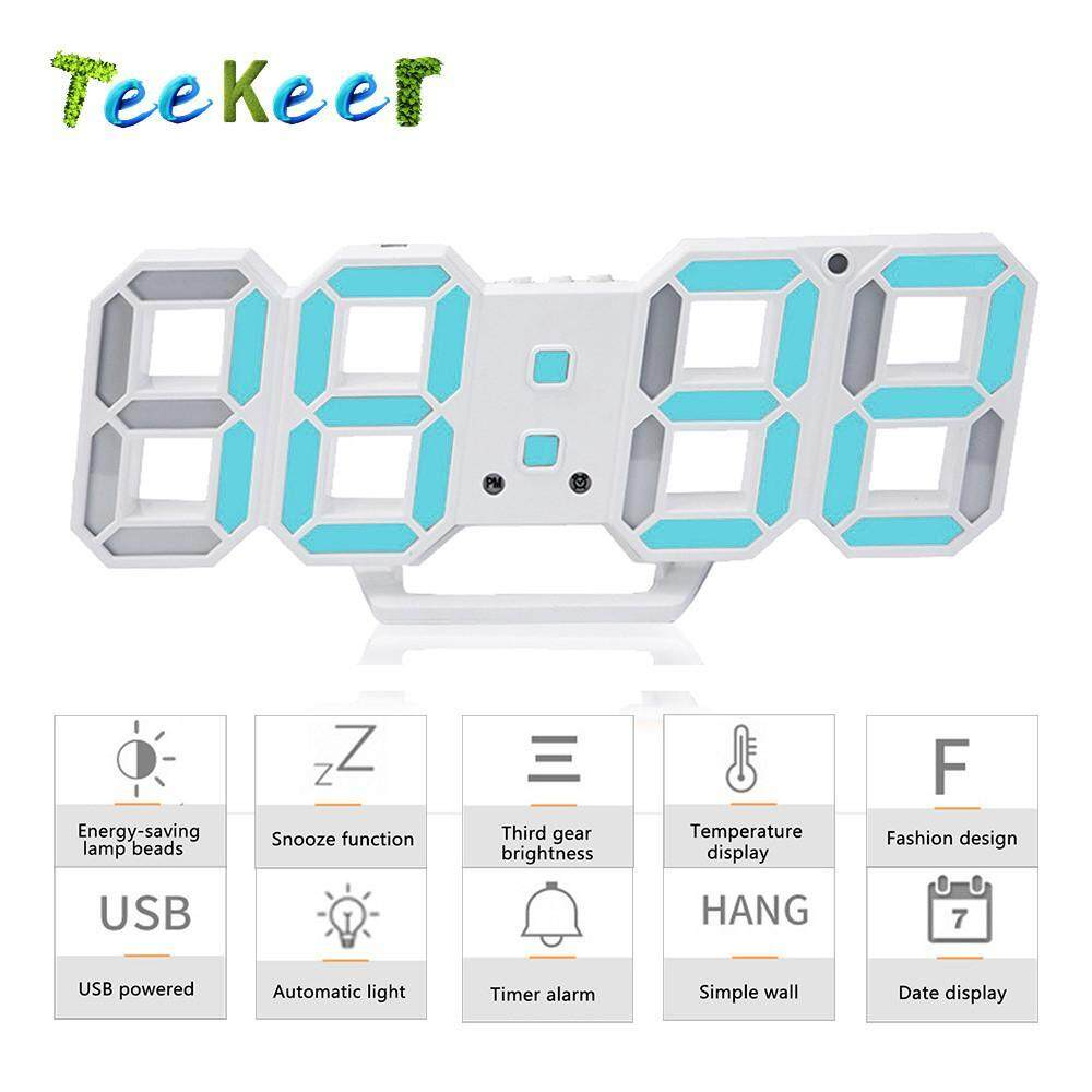 Home Clocks Buy At Best Price In Malaysia Lazada Green Circuit Board Clock Boyfriend Gift Father By Clocklight Teekeer 3d Digital Alarm 3 Adjustable Brightness Levels Led Wall With Date And