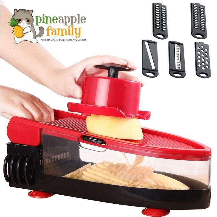 Nicer Dicer 4: Precision Food Chopper With Interchangeable Blades Red By Pineapple Family.