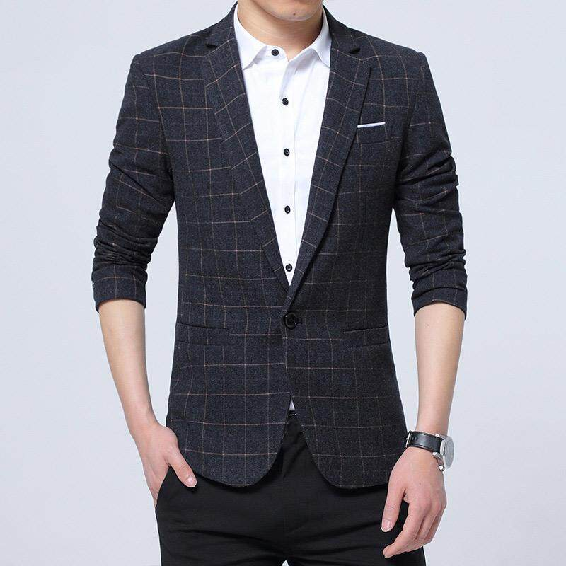0b5e67a1d8cf5 Men s Suit Jacket Wear Man Business Casual Checked Plaid Men Blazer