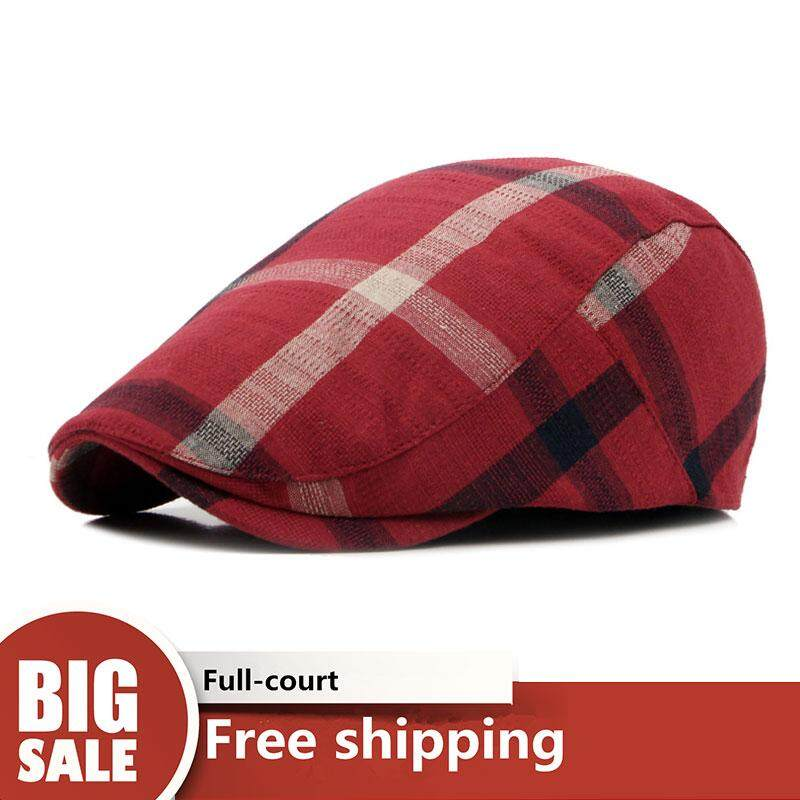 c8db5f94dbdae3 LS NEW British classic style Retro plaid Men's Berets Knitted hat