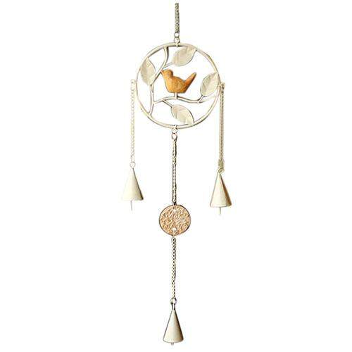 Round Vintage Metal Wind Chimes Wind Chimes Bird Home Wall Decoration(white One Bird) By Shakeshake.
