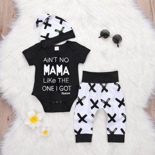 6492693b7 Newborn Baby Boys Girl Clothes MAMA Print Romper+ Casual Pants+Hat Outfits  Set