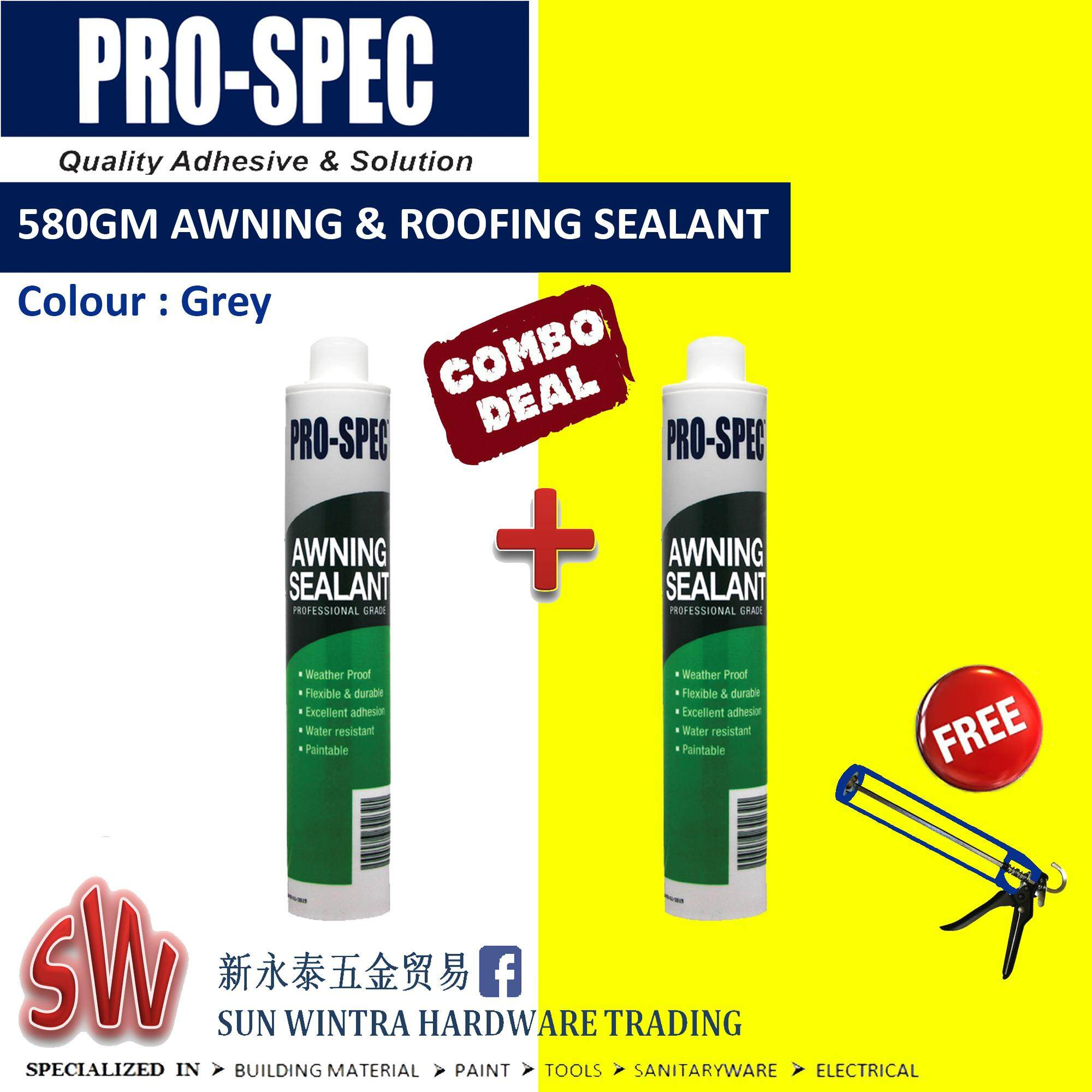 PRO-SPEC 2x Combo 580GM AWNING & ROOFING SEALANT (GREY) F.O.C Silicone Gun