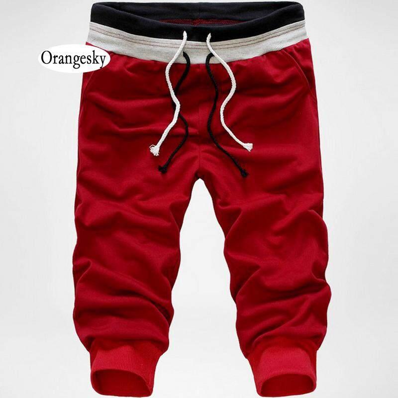 e319f30931 Orangesky Fashion Men Pants Solid Color Elastic Sweatpants Three Quarter  Troursers Boys Casual Beach Pants