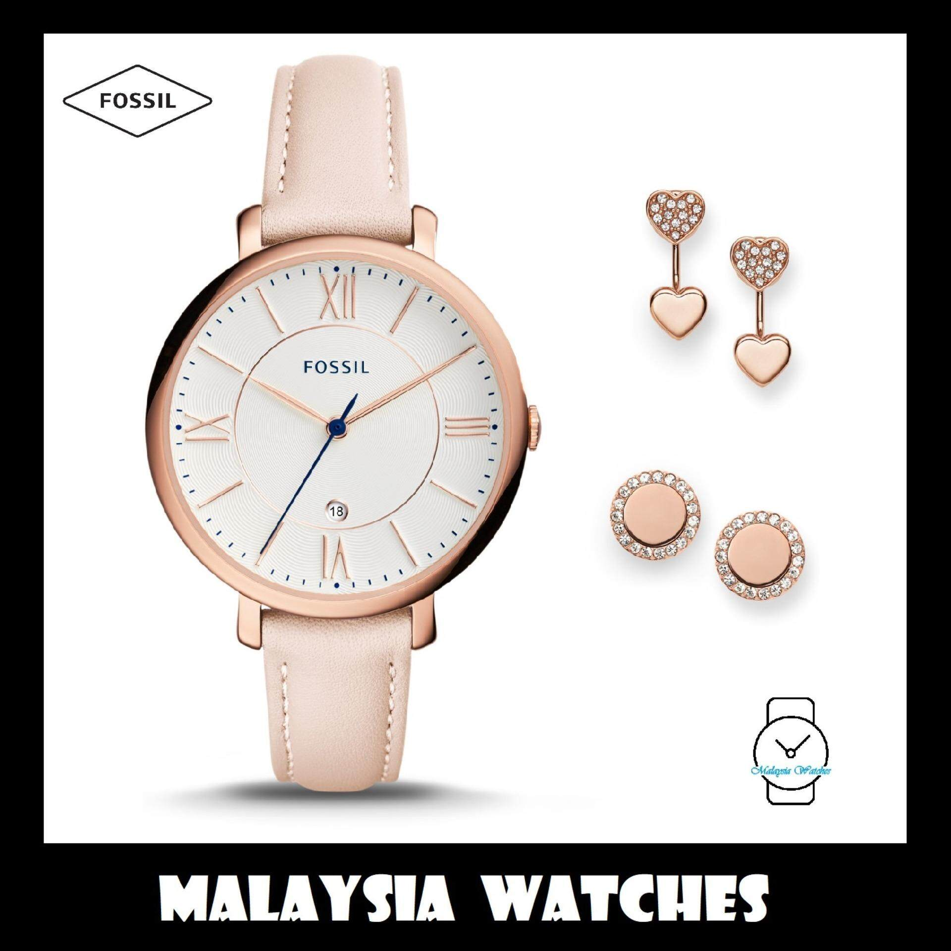 Fossil Watches Price In Malaysia Best Lazada Jam Tangan Neutra Chronograph Stainless Steel Fs5384 Official Warranty Women Es4202set Jacqueline Three Hand Date Blush Leather Watch
