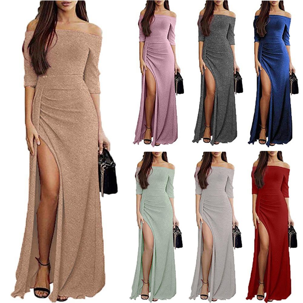 4af08e0fadb47 Evening Party Women Sexy Off Shoulder High Slit Maxi Dress Shiny Bodycon  Gown