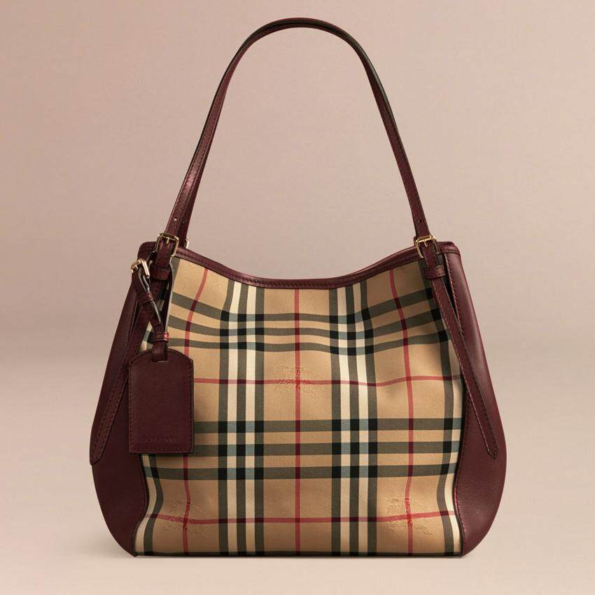Burberry Horseferry Check Small Canterbury Panels Tote Deep Claret