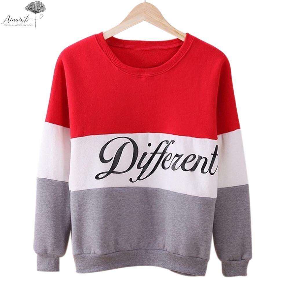 1de4e41c9 Amart Women Long Sleeve O-neck Tops Pullover Tops Sweatshirt Hoodies  Patchwork Fleece Tracksuits Tops