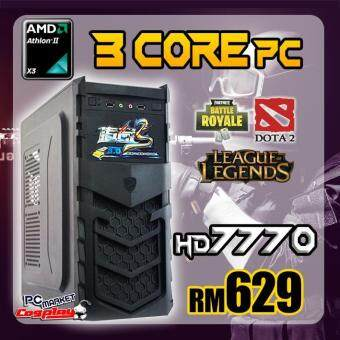 Gaming PC Desktop AMD 3core 3.3GHz 4GB Ram HD7770 support Fortnite (Refurbished)
