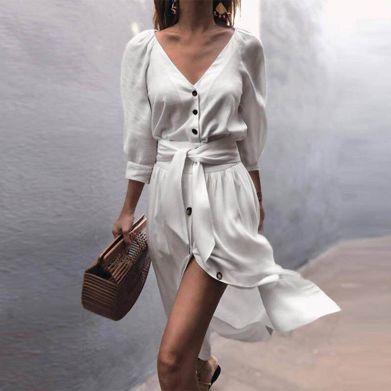Woman Casual Solid Color Fashion V Neck Button Up Long Sleeve Midi Dress Ladies Party Beach