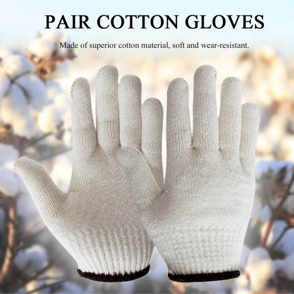 Wintin Soft Cotton Gloves Wear-resistant Antiskid Hemming Gloves Breathable Safety Hand Protective Gloves for Labor Work Hand Safety, Kitchen Cutting, Yard Work, Outdoor Indoor Use, Rowing, Biking Climbing
