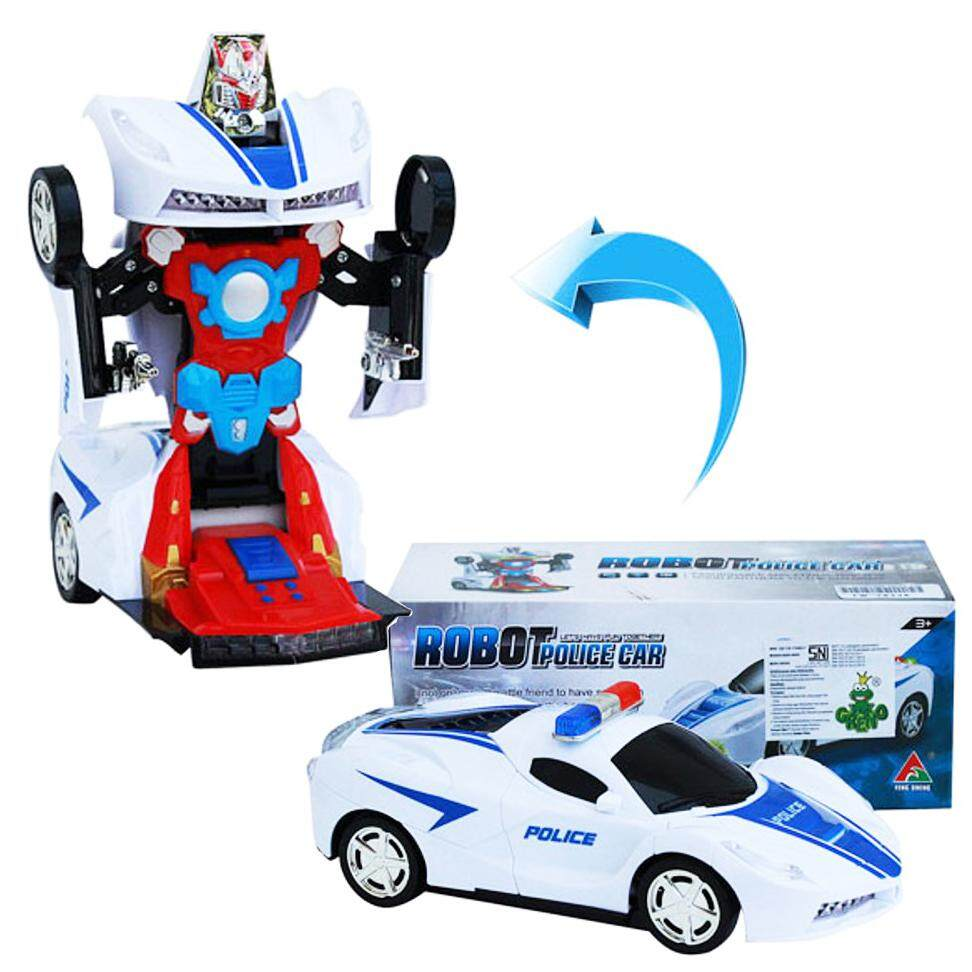 2 In 1 Transformers Robot Police Car Toy With Lights And Sounds By Pinkblue.