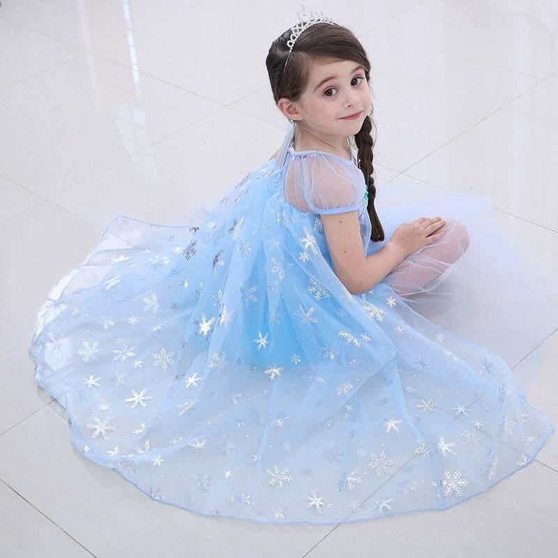 Kids Girl Queen Elsa Princess Party Cosplay Costume Halloween Fancy Dress 4-9T