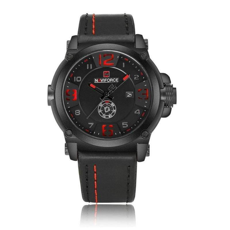 NAVIFORCE 9099 Men 3ATM Waterproof Date Wrist Watch Needle Quartz Movement Black+Red Malaysia