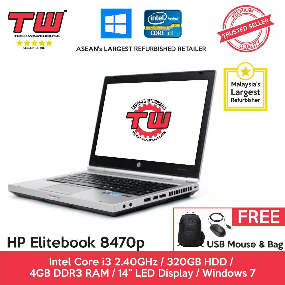 HP Elitebook 8470p Core i3 2.40GHz / 4GB RAM / 320GB HDD / Windows 7 Laptop / 3 Months Warranty (Factory Refurbished) Malaysia
