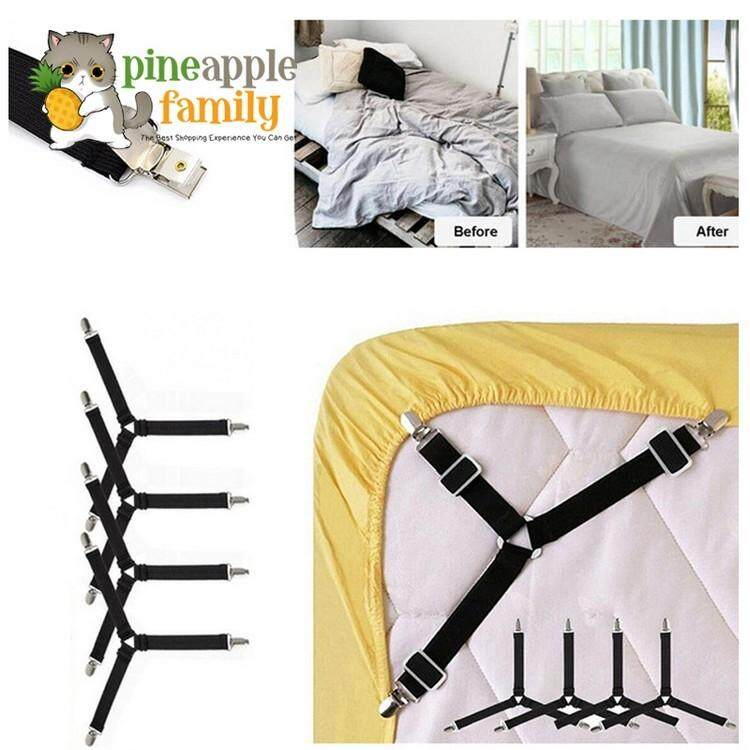 4pcs Triangle Bed Mattress Sheet Clips Grippers Elastic Straps Fasteners Holders By Pineapple Family.