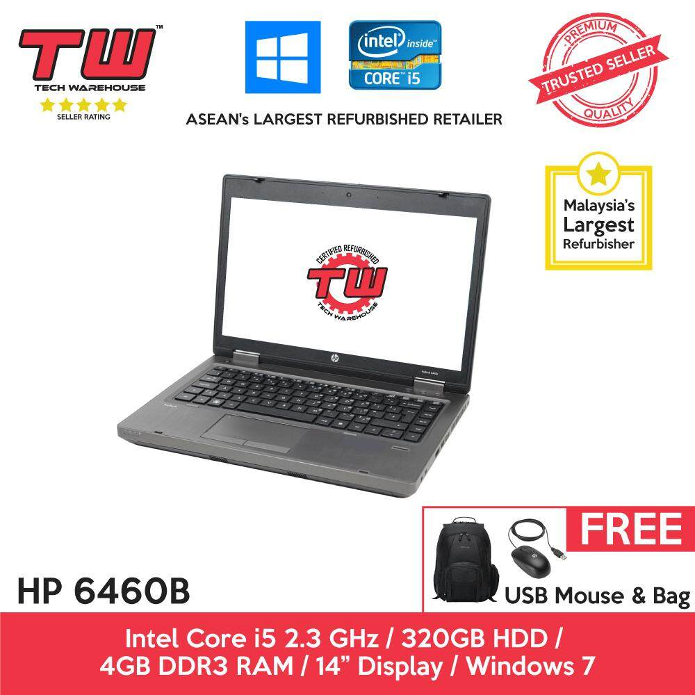 HP 6460B Core i5 2.3GHz / 4GB RAM / 320GB HDD / Windows 7 Laptop / 3 Months Warranty (Factory Refurbished) Malaysia