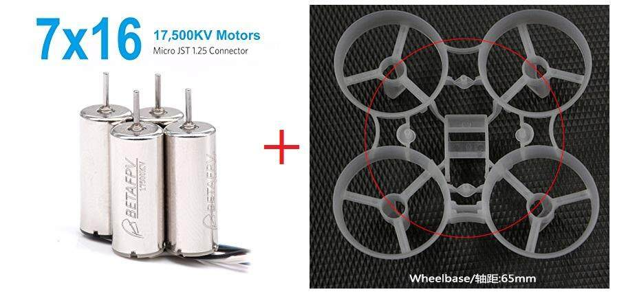Betafpv 7x16mm 17500kv Brushed Motors (2cw+2ccw) 4pcs With 65mm Frame By Emtech.