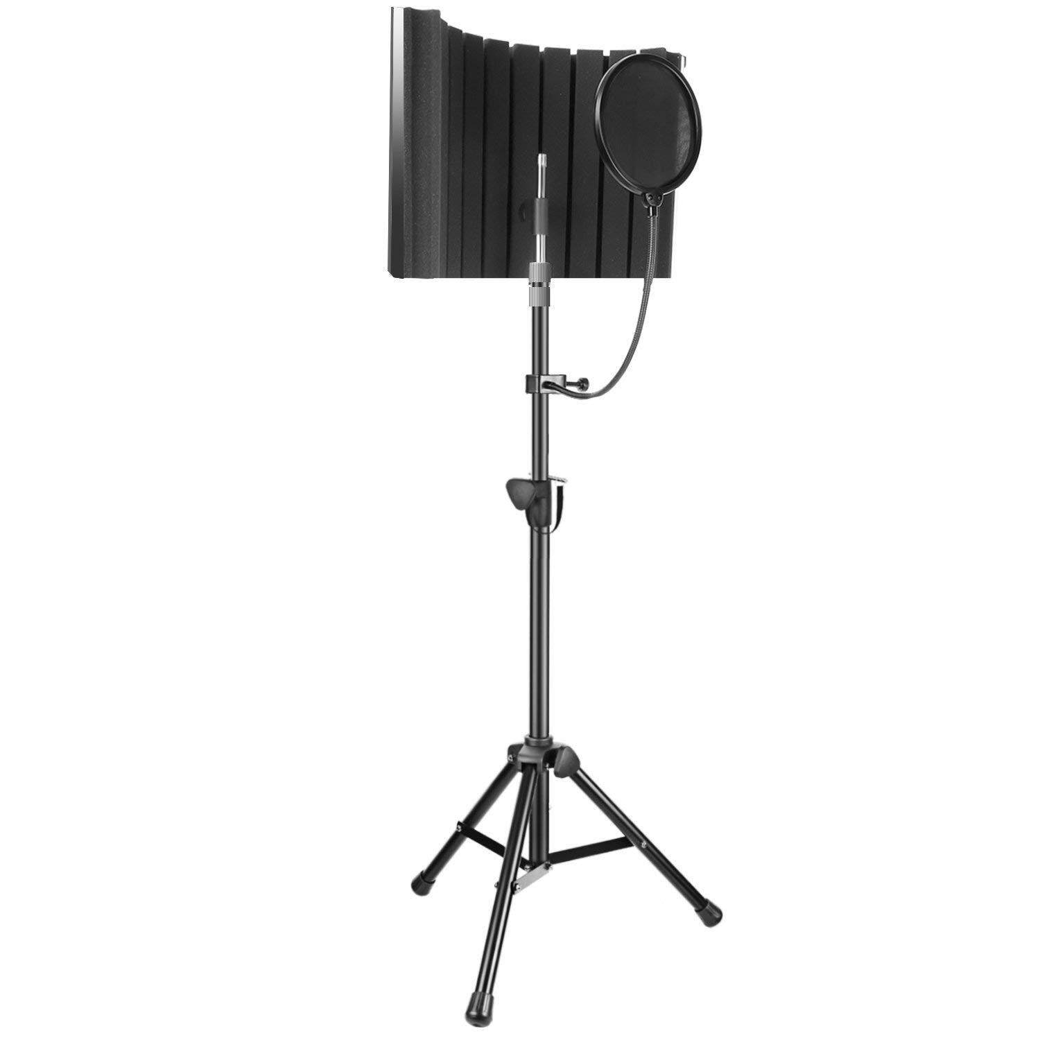 Neewer Professional Microphone Studio Recording Accessories Include: Nw-8 Mic Isolation Shield, Adjustable Wind Screen Bracket Stand And Pop Filter For Vocal Acoustic Recording And Podcasting By Cessna.