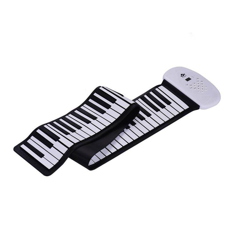 88 Keys MIDI Roll Up Piano Electronic Silicon Keyboard Built-in Stereo Speaker 1200mA Li-ion Support BT Connection Record Sustain functions white EU plug Malaysia