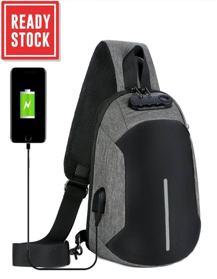 USB Charging Chest Bag Crossbody Premium Bag Anti Theft Sling bag  Lightweight Casual Daypack for Men 37261cf62d293
