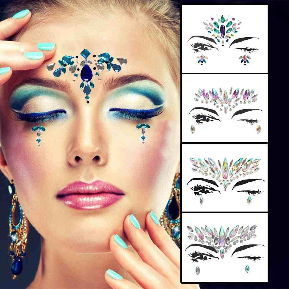 d0ce577ad Yuchen 9Pack Women Mermaid Face Gems Glitter,Rhinestone Rave Festival Face  Jewels,Acrylic Crystals
