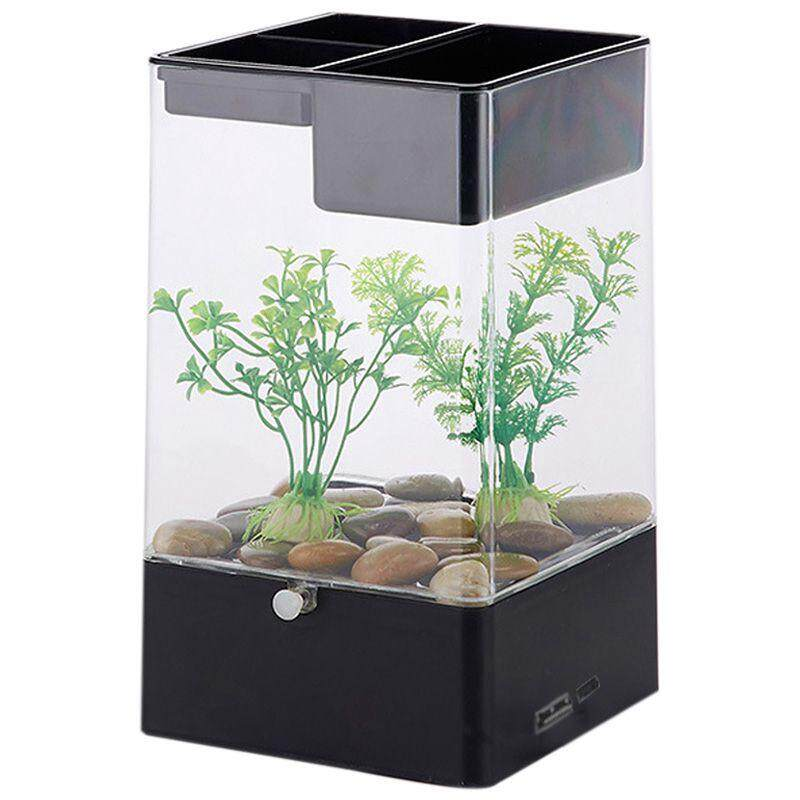 LED Light Square USB Interface Aquarium Ecological Office Desk Fish Tank Filter, Black + transparent