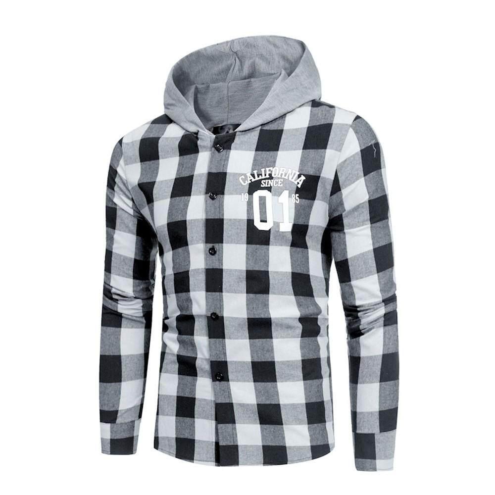 3a011bfa8367 Garnerstore Men's Shirts Slim Pliad Summer Casual Long Sleeve T-Shirt  Hooded Casual Blouse