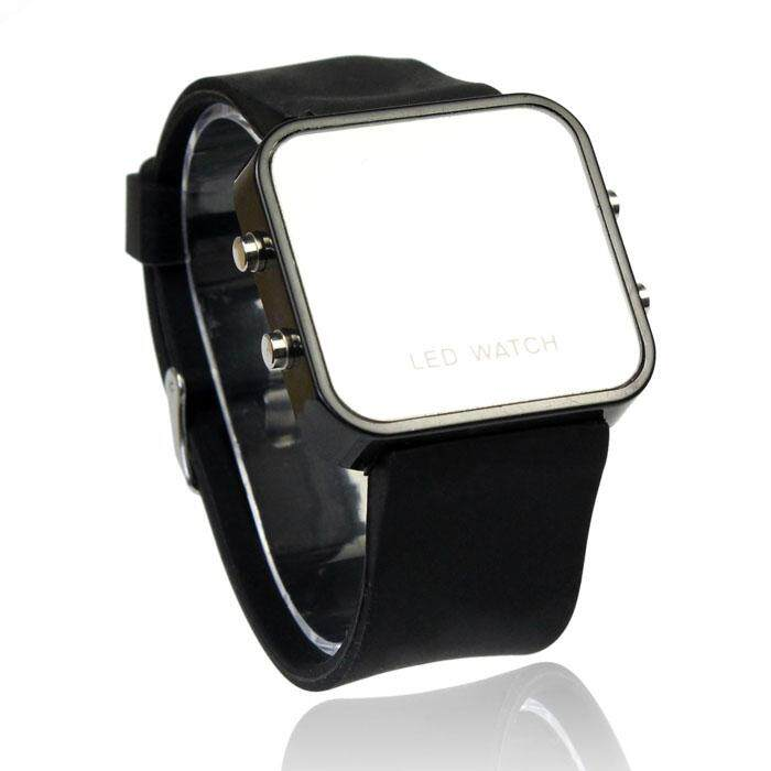 LED Calendar Day/Date Silicone Mirror Face Men Lady Watch Black Malaysia