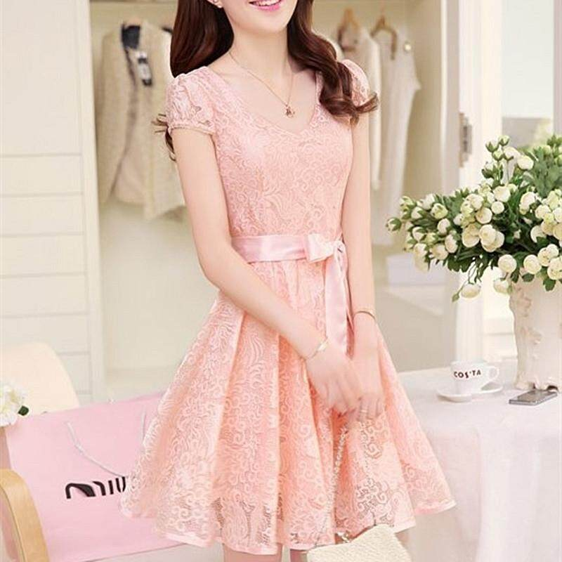 6992c4ec82cec Korean Lady Lace Chiffon Dress Fashion Causal MIDI Sleeveless Dresses Woman  High Waist Slim Dress Summer