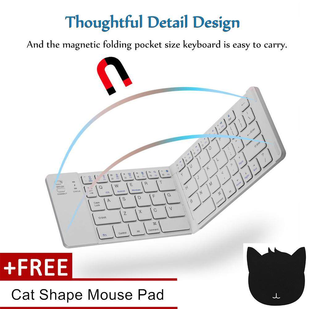 【Buy 1 Get 1 Free Gift】Portable Magnetic Folding Wireless Bluetooth Keyboard for Android IOS Windows Malaysia