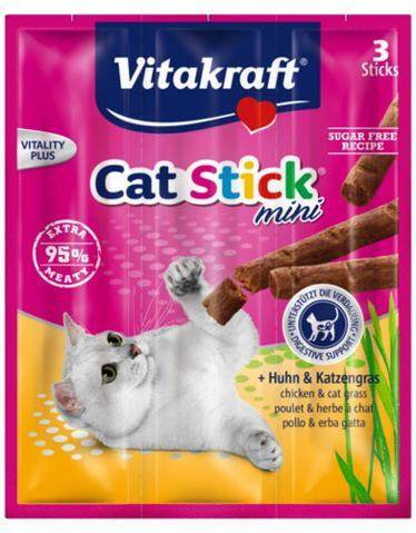 Vitakraft Cat Stick Chicken & Cat Grass 18g X 5 By Irene Aquarium & Pet Saloon.