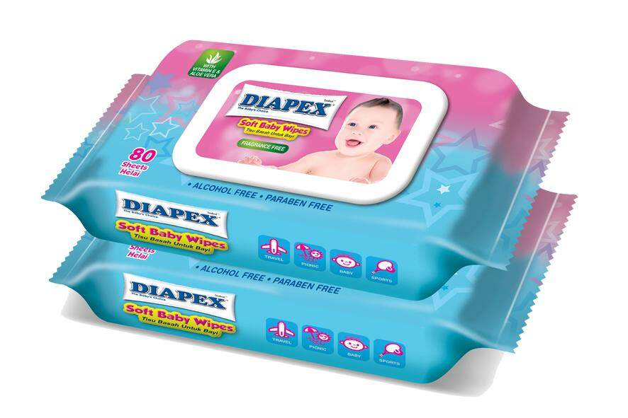 Diapex Baby Soft Wipes 2x80's (Paraben Free)