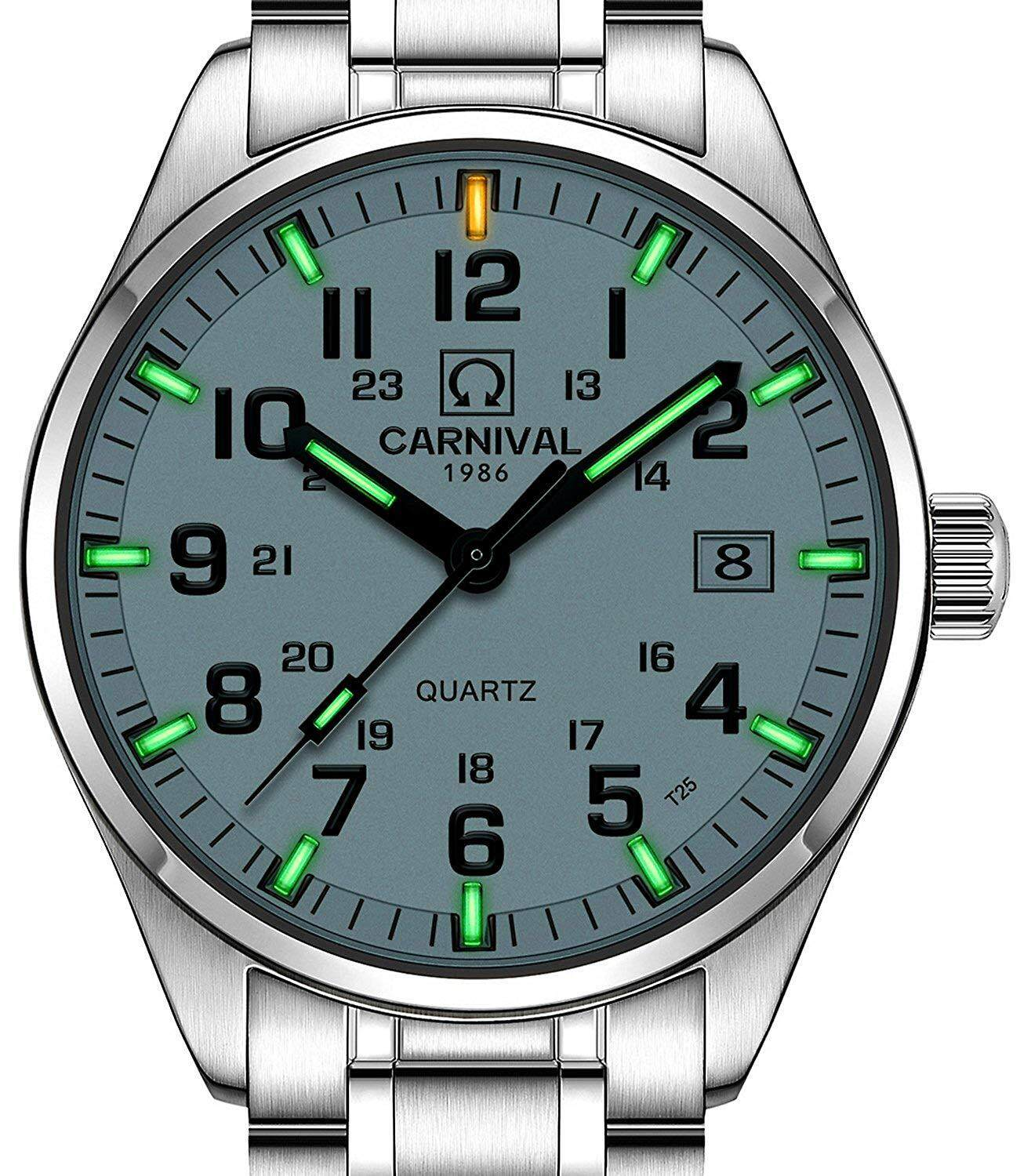 Carnival Mens Tritium Watch Green Light Swim Waterproof Sapphire Glass Stainless Steel Quartz Watches Malaysia