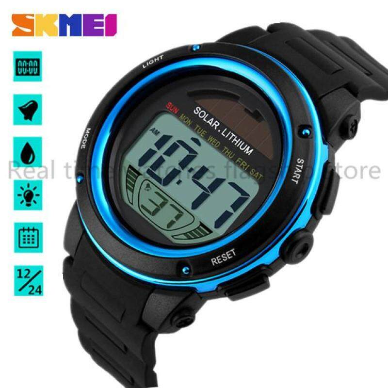 Genuine SKMEI 1096 Hot Brand Solar Digital Watch Men & Women Sports Watch 3ATM Waterproof Men & Womens Watches With Chronograph Back Light Malaysia