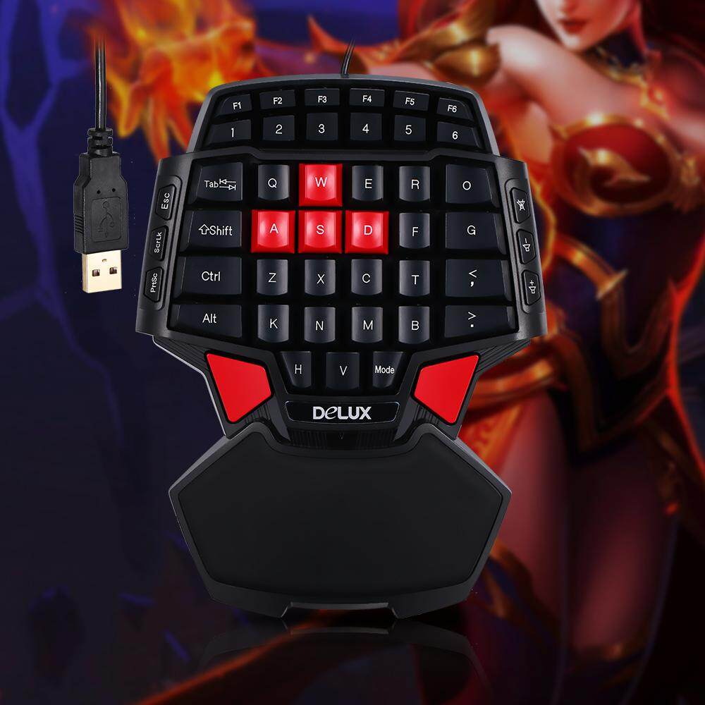 ef838263327 Delux T9 47-Key Gaming Keyboard Professional One/Single Hand USB Wired  Keyboards Esport