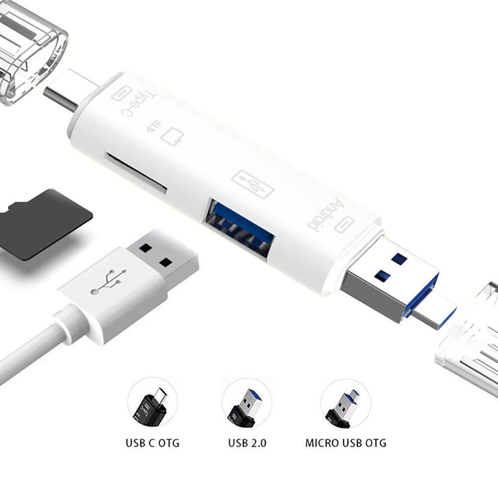 Strflowers 5-In-1 Portable Usb Otg Adapter C/usb/micro Sd Card Reader For Macbook Pc Tablets Smartphone By Strflowers.