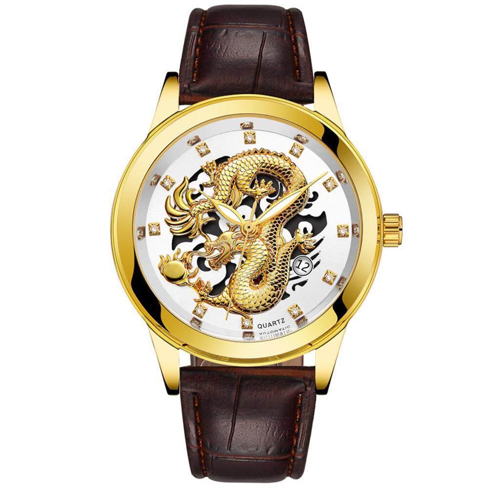 Warnershop Waterproof Mens Gold Dragon Sculpture Quartz Watch Luxury Men Leather Wristwatch Malaysia
