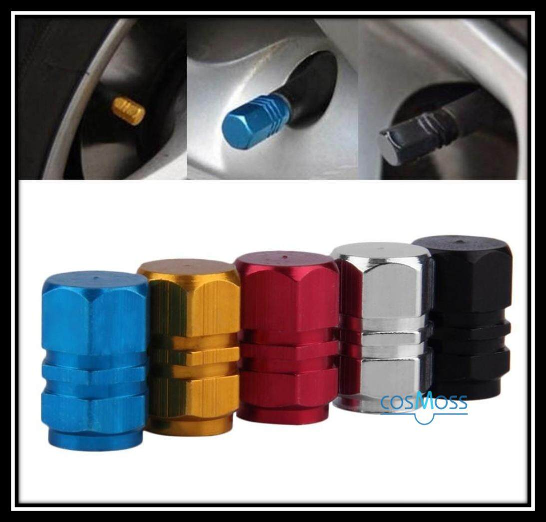4pcs Black Aluminum Metal Car Wheel Tire Valves Tyre Stem Air Caps Airtight Cover For Car Moto Bike Bicyle Universal By Cosmoss.