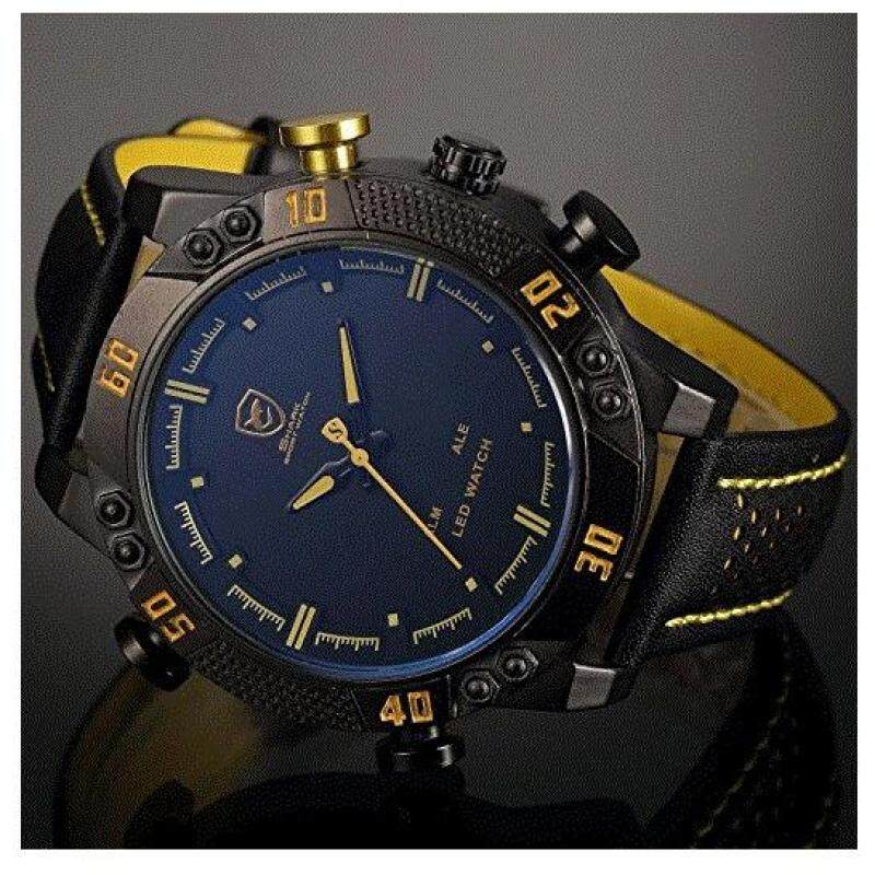 Kitefin Shark Mens LED Date Day Alarm Digital Analog Quartz Black Leather Band Wrist Watch SH263 Yellow Malaysia