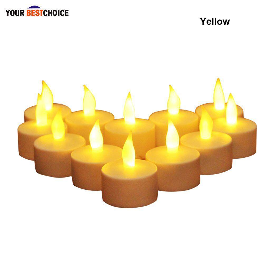 YBC 12pcs Electronic Candle LED Light Flameless Simulation For Wedding  Party Decoration