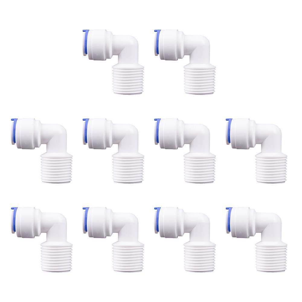 10pcs Quick Connect Push Fit Water Tube Fitting, Male Thread to 1/4 inch OD Tube Elbow Adaptor for RO Water Filter Water Dispenser Fitting