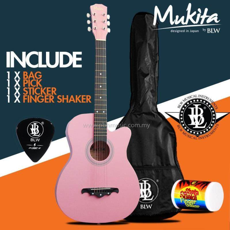 Mukita by BLW Standard Acoustic Folk Cutaway Basic Guitar Package 38 Inch for beginners with Bag, Pick, Finger Shaker and Merchandise Sticker (Pink) Malaysia